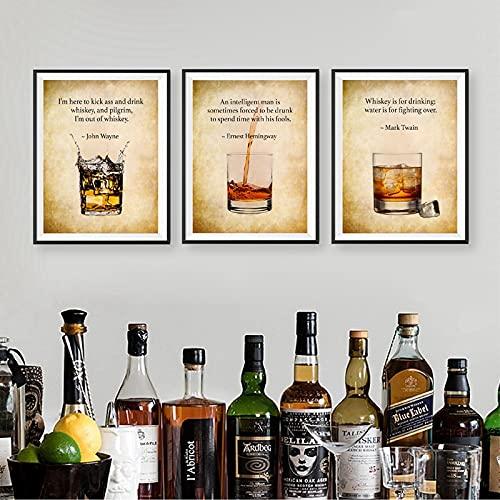 Whisky Print Bar Wall Art Decor Regalo per lui Whisky Quotes Poster vintage Pittura su tela Immagini...