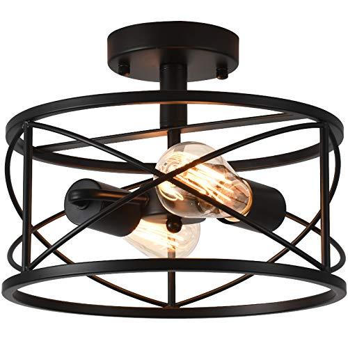 WELTRANS 2-Light Semi Flush Mount Ceiling Light, Industrial Farmhouse Black Light Fixture with Metal Cage, Retro Pendant Lighting for Bedroom, Kitchen Island, Hallway, Entryway, Garage, Bathroom
