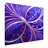 Butterfly Rising Metal Wall Decor - Small Purple Animal Decorations for Living Room or Kitchen - Modern Art in One Panel of 24' x 24'