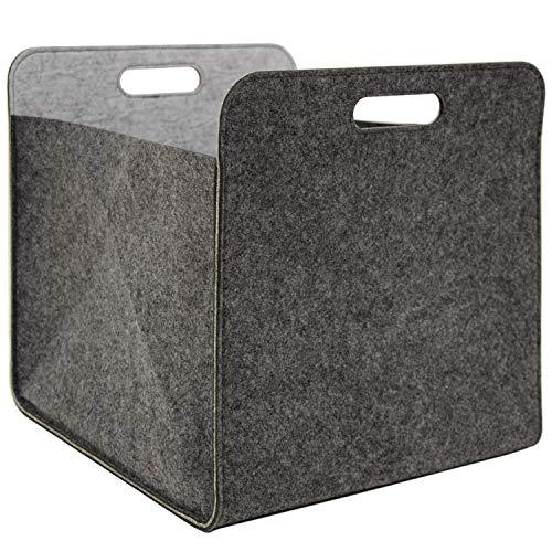 DuneDesign Filz Aufbewahrungsbox 33x33x38 cm Kallax Filzkorb Regal Einsatz Box Grau