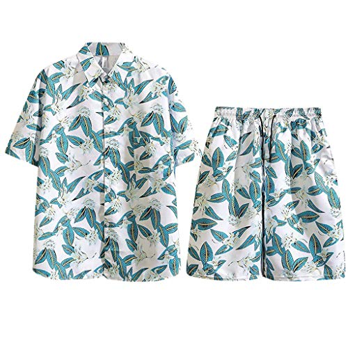 Herren Freizeitanzug Sommer Mode Druckanzug Ferien-Set Kurzarm Hemden Shirt Shorts Set mit Tasche Große Größen Hawaii Outfit, Grün, X-Large