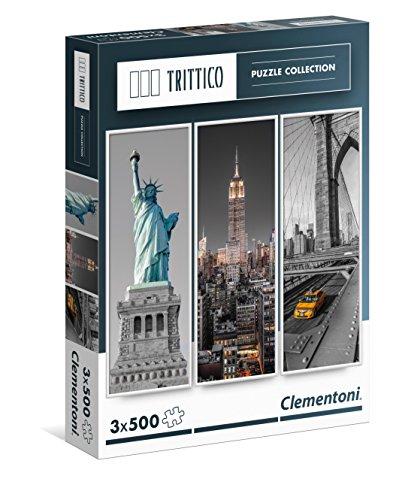 Clementoni- New York Puzzle Trittico, 3 x 500 Pezzi, 39305