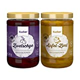 Xucker Marmelade Fruchtaufstrich-Kombi, Zwetschge & Apfel-Zimt 2 Sorten (74 % Frucht), 2 x 220 g - Xylit, ohne...