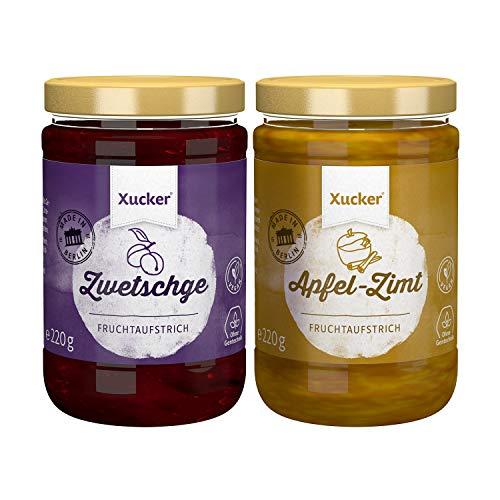 Xucker Marmelade Fruchtaufstrich-Kombi, Zwetschge & Apfel-Zimt 2 Sorten (74 % Frucht), 2 x 220 g - Xylit, ohne Gentechnik, vegetarisch, made in Berlin