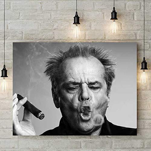 wZUN Cartel de cigarro Cuadro de Arte de Pared Pintura al óleo en Blanco y Negro Sala de Estar decoración del hogar Pintura 60x80 Sin Marco