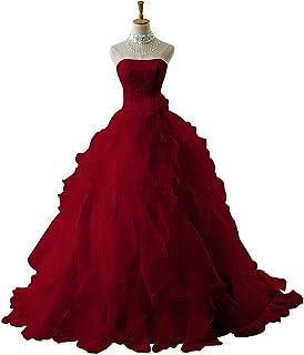 W&TT Mujeres Encaje Applique Novia Puffy Vestido de Fiesta de Baile con cinturón Precioso Tul sin Tirantes 16 Vestidos de quinceañera,Winered,US18W