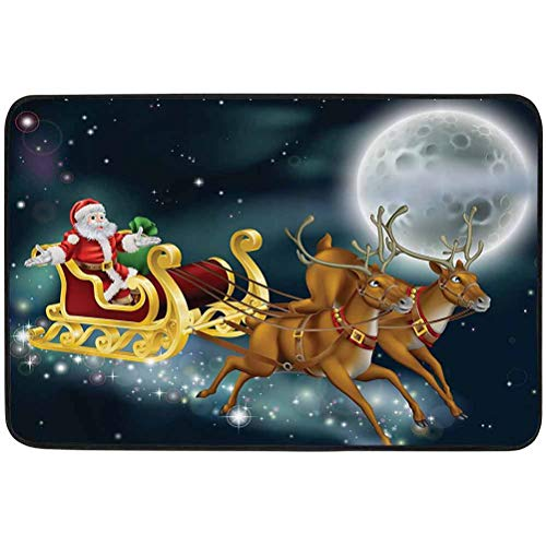 YUAZHOQI Christmas Decorations Collection Door mat, Santa with Reindeer in Sledge Flying Dark Magical Starry Night with Full Moon Fantasy, W23.6 x L35.4 Inch Welcome mats for Front Door, Multi