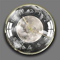 学生オフィス学校の家の装飾的な時計のための外側の空間の丸い壁掛けの静かな非ティックな電池式のぶら下がった時計,7,35cm/14 inch