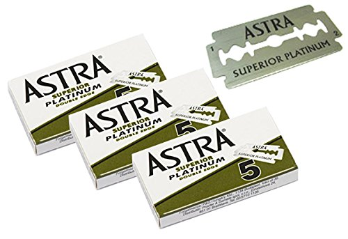 Astra Superior Premium Platinum Double Edge Safety Razor Blades 3 Pack of 5 Blades (3)