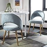 Safavieh Home Giani Retro Slate Blue Velvet and Gold Dining Chair, Set of 2