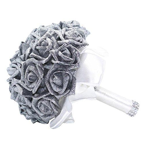 Coloré(TM) Souffle de fleurs Fleur Artificiel Fleurs Fausses Feuilles mariage décoration florale bouquet (Argent)