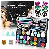Face Paint Kit for Kids - 60 Stencils, ENJSD Halloween Makeup Kit 18 Large Water Based Paints, 2...