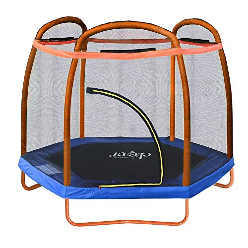 "Clevr 7ft Kids Trampoline with Safety Enclosure Net & Spring Pad, Mini Indoor/Outdoor Round Bounce Jumper 84"", Built-in Zipper Heavy Duty Steel Frame, Orange/Blue 