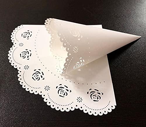 iKesoce 50 Pezzi Coni Portariso Rose Bianco Portaconfetti Scatoline Bomboniere Coni di Coriandoli per Matrimonio Nozze