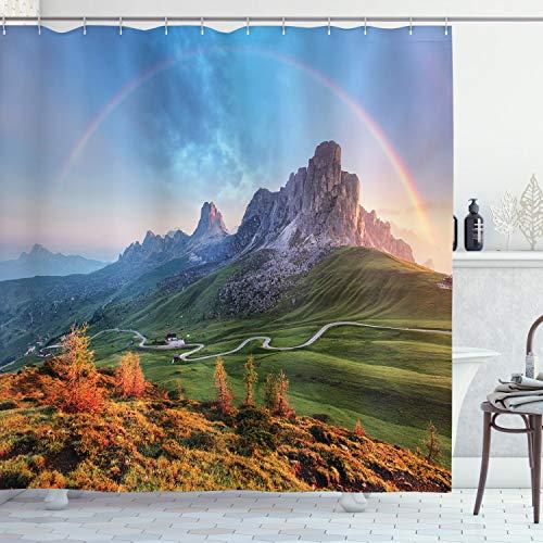 ABAKUHAUS Landschaft Duschvorhang, Alpen Regenbogen Morgen, Wasser Blickdicht inkl.12 Ringe Langhaltig Bakterie & Schimmel Resistent, 175 x 200 cm, Multicolor