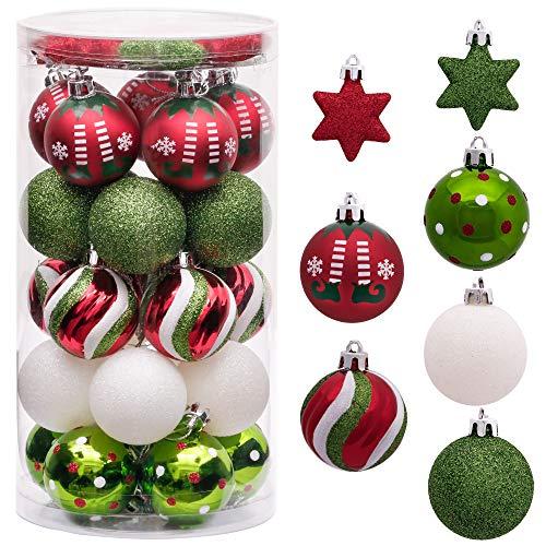 Victor's Workshop 35Pcs Bolas de Navidad 5cm, Adornos de Navidad para Arbol Tema Elfo Setl, Decoración de Bolas Navideños Plástico de Rojo Blanco Verde, Regalos de Colgantes de Navidad (Deleitoso)