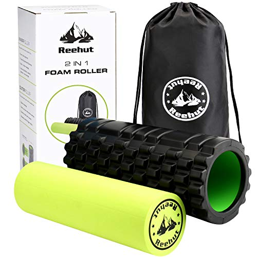 REEHUT Foam Roller - 2 in 1 Trigger Point Exercise Roller, High Density Muscle Roller with Carry Bag for Deep Tissue Massage, Physical Therapy & Relaxing