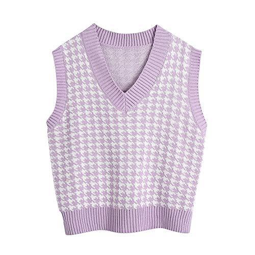Mujeres 2020 Moda de Gran tamaño Houndstooth Chaleco Chaleco suéter Vintage Sin Mangas Lado Ventiladores Femenino Chaleco Chic Tops (Color : Purple, Size : S)