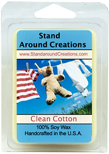 Clean Cotton Wax Melt Tart: 100% Soy Wax - The aroma of fresh linens dried on a fresh breezy day. The note of bright w/ lemon, lime, green apple and clean ozone. Notes of cedar, jasmine, lavender and lily w/ soft violet, lavender and musk 3oz