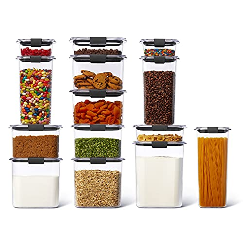 Rubbermaid Brilliance Plastic Food Storage Pantry Set of 14 Containers with Lids (28 Pieces Total), Dishwasher Safe, BPA-Free