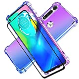 Moto G Power Case with Tempered Glass Screen Protector, Transparent Shockproof Slim Two-Color Soft TPU Protection Cases for Motorola Moto G Power, (Not fit for Moto g8 Power) (Purple/Blue)
