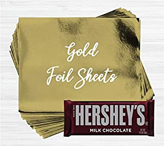Gold Shiny Candy Bar Wrapper Foil Sheets for Over Wrapping Hershey's Chocolate Bars - 40 Sheets