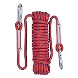 KEBY Corde De Sécurité d'escalade 10M 20M 30M, Extérieure Anti-déchirures Alpinisme Sauvetage Corde avec 2 Mousquetons, Corde pour Le Randonnée,L'alpinisme Corde Escalade (20M, Rouge)