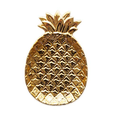 Homentum Wedding Ring Holder For Jewelry Trinket Ring Dish Tray Engagement Jewelry Holder Tropical Pineapple Ceramic Golden Jewelry Plate Bowl Gift For Women Fruit Shape Plate Key Tray Bracelet