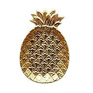 Homentum Gold Pineapple Jewelry Dish Tray,Ceramic Jewelry Plate,Ring Holder Dish Gift for Mom,Women,Vanity,Bathroom,Bedroom,Dresser