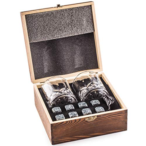 Impressive Whiskey Stones Gift Set with 2 Glasses - Be Different When Choosing a Gift - Luxury Handmade Box with 8 Granite Whisky Rocks & Velvet Bag - Ice Cubes Reusable - 'Best Man' Gift