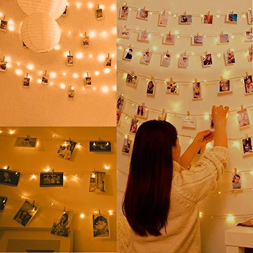 Anpro 11m 110 LED Luci Foto con Mollette - Lampada per Foto Illuminazione Interna a LED, Adatta per Interni, Matrimoni, Ambienti. Con 50 Clip in Legno, 20 Borchie a Parete