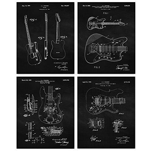Vintage Fender Guitar Patent Poster Prints, Set of 4 (8x10) Unframed Photos, Wall Art Decor Gifts Under 20 for Home, Office, Man Cave, Teacher, Musician, College Student, Band, Rock & Roll Fan