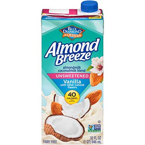 Blue Diamond Almonds Breeze Dairy Free Almondmilk Blend, Unsweetened Vanilla Coconut, 32 Ounce (Pack of 12)