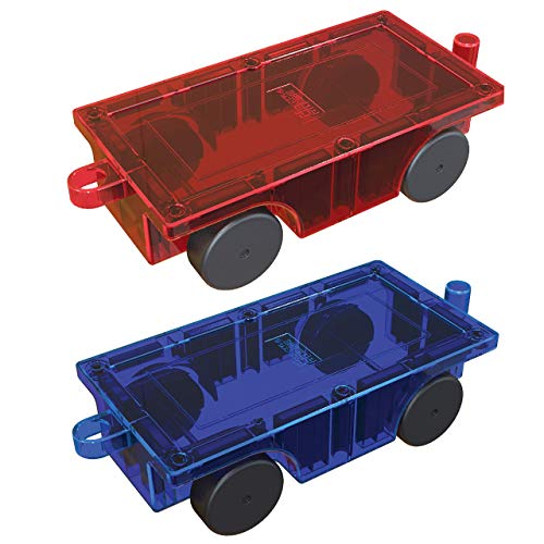 PicassoTiles 2 Piece Car Truck Construction Kit Toy Set Vehicle Educational Magnet Building Tile Magnetic Blocks Puzzle Magnets Toys with Re-Enforced Hitch and Long Bed for Girls Boys Toddler Ages 3+