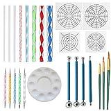 YH 25 unids/Set Mandala Dotting Pen Kit de Herramientas para Arte Mandala Stencil Dot Painting Rock Ball Stylus Brushes Paint Tray