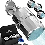AquaHomeGroup Shower Filter Head - High Pressure Luxury Filtered 15 Stage For Hard Water Vitamin C + E Removes Chlorine and Impurities - 2 Cartridges Included Wall-Mounted Showerhead Output - 3 Modes