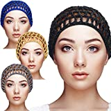 4 Pieces Mesh Crochet Hair Net Rayon Knit Snood Hat Thick Short Women Hairnet Snoods Cover Ornament for Sleeping (Black)