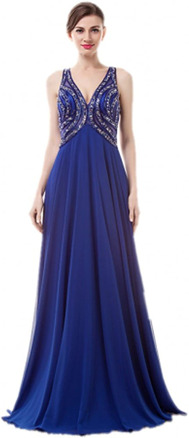 Anna's Bridal Women's Beaded V Neck Long Prom Dresses Backless Evening Gowns