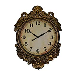 IMPORTED GIFT DEPOT Baroque Style Distressed Gold Victorian Wall Clock