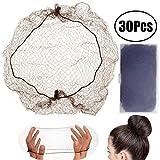 LEEQ 30pièces Invisible Filets à Cheveux élastique Edge en Maille Filet pour Perruque et Cheveux de Fixation pour Femme Chignon Rendant, café
