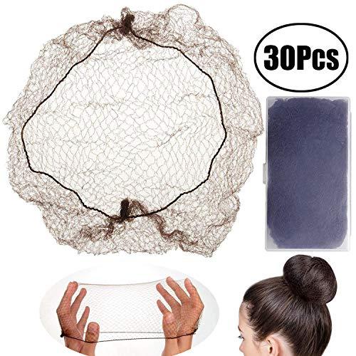 Leeq - 30 retine per capelli invisibili con bordo elastico per fissare parrucche, capelli e chignon, colore caffè