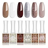 Gel Nail Polish Nude Brown White Silver Gold Glitter Gel Polish 6 PCS 10ML Soak Off Nail Gel Polish Home Use Valentines Beauty Gift Set by Modelones