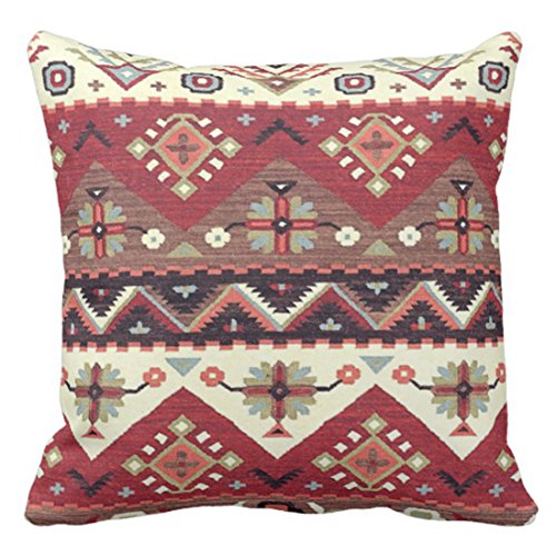 Emvency Throw Pillow Cover Native Western Southwest Tribal Pattern Geometric Decorative Pillow Case Home Decor Square 20 x 20 Inch Pillowcase