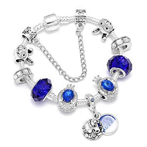 Fantasía de cuento de hadas Fox Bunny Charms Pulseras para mujeres DIY Crystal Blue Beads Pulseras Moda Joyería Regalo 19cm