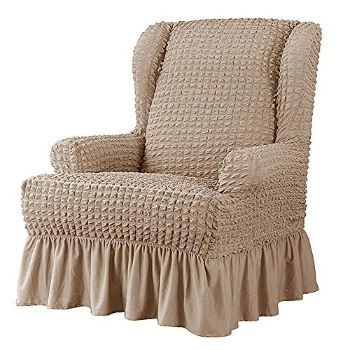 Zoeay Funda elástica para sillón de 1 Pieza, Funda para sillón de Tela Seersucker con Elegante Falda con Volantes, Funda Protectora para Muebles-Rosa Desnudo