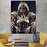 Wfmhra Impresión HD y póster Imagen Dorada Pintura en Lienzo Imagen Sala de Estar Dormitorio decoración del hogar 50x70 cm sin Marco