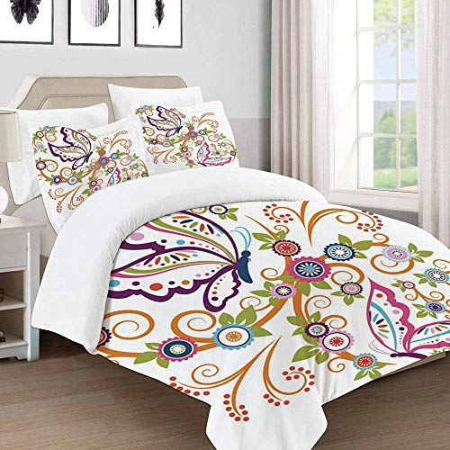 772 Duvet Cover Set-Bedding,floral wreath with butterfly,Quilt Cover Bedlinen-Microfibre 200×200CM with 2 Pillowcase 50×80CM