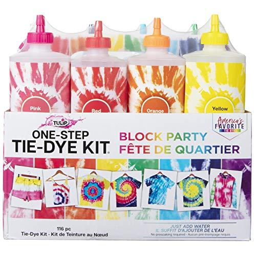 Tulip One-Step Tie-Dye Kit Block Party 16oz 8 Color Tie Dye, Rainbow