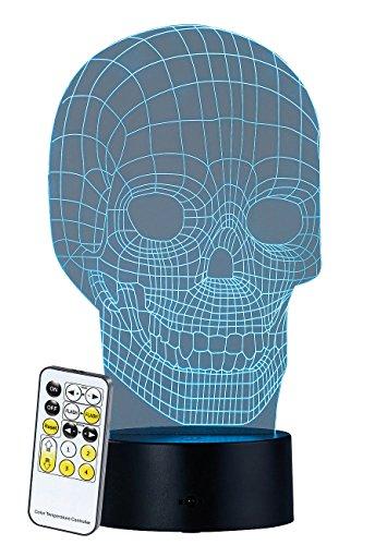 Lunartec 3D-Hologramm-Leuchte: 3D-Hologramm-Lampe mit Leuchtmotiv Totenkopf, 7-farbig (LED-3D-Lichter)