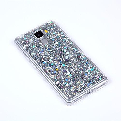 Kompatibel mit Huawei Honor 7 Hülle,Glänzend Bling Glitzer Diamant Muster TPU Silikon Handy Hülle Tasche Silikon Case Durchsichtig Handyhülle Etui Case Cover Schutzhülle für Huawei Honor 7,Silber - 4